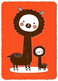 """Sweet Alpacas"" art print from Happy Doodle Land on Etsy."