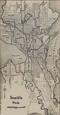 "1917 map of Seattle indicates that Ravenna Ave. is the road to take to get to ""Bothell, Everett and All Points North."""