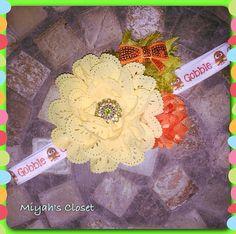 Fall Headband Gobble Headband Flower Fall Headband by MiyahsCloset
