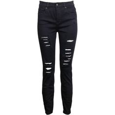 Luxe High Rise Distressed Jean (280 BRL) ❤ liked on Polyvore featuring jeans, pants, distressed zipper jeans, ripped zipper jeans, high-waisted jeans, distressing jeans and zip fly jeans