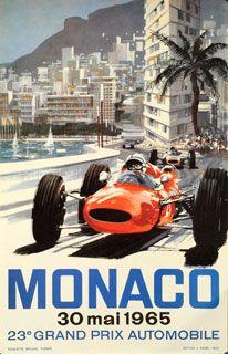 Grand Prix - Monaco, 1965 Poster del Gran Premio de Mócano de Fórmula 1 #f1 Cartel #vintage