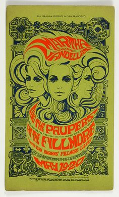 On this day in Martha and the Vandellas, The Paupers, lights by Dan Bruhn's Fillmore Lights at The Fillmore, rock poster by Bonnie MacLean Poster Retro, Vintage Concert Posters, Posters Vintage, Psychedelic Art, Rock Posters, Band Posters, Art Pop, Cover Art, Art Hippie