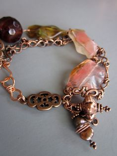 Multi Strand Copper Chain Quartz Agate Bracelet
