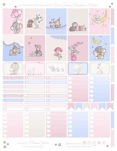Free Printable Elephant & Bunny Planner Stickers from Planner Onelove