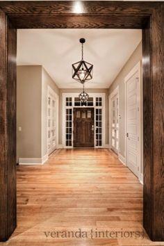 Suzie: Veranda Interiors - Coffee stained oak wood door frames & door, greige walls paint ...