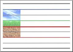 Vers l'écriture cursive, affiche mixte : lignes guides terre-sol-ciel et seyes traditionnel. A utiliser avec les affiches de Mme Figaro...