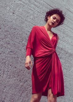 Summer 2019 collection by Greek designer Yulia Malisaki Dark Red, Wrap Dress, Greek, Cocktails, Feminine, Sexy, Summer, Sleeves, Clothes