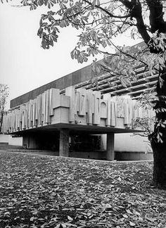 """Swiss Cottage Community Centre London Architect: William Mitchell — via Architecture Details, Modern Architecture, Concrete Sculpture, Concrete Wall, Concrete Casting, Outdoor Sculpture, Swiss Cottage, Brutalist Design, Architectural Sculpture"