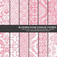 Blushing Rose Damask Digital Papers Backgrounds by MoonsteamDesign, $4.95