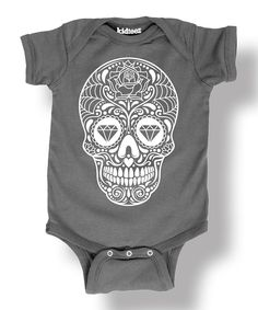 Another great find on #zulily! Charcoal & White Sugar Skull Bodysuit - Infant by Ay Caramba #zulilyfinds