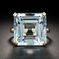 Vintage Aquamarine Solitaire Ring - Antique & Vintage Gemstone Rings - Vintage Jewelry