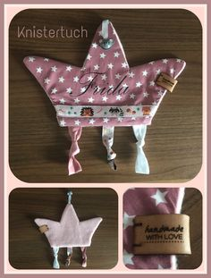 Knistertuch genäht mit Glöckchen und Namen in Form einer Krone Knit cloth sewn with little bell and name in the form of a crown Girl Dolls, Baby Dolls, Sewing Projects, Projects To Try, Baby Corner, Baby Tie, Baby Doll Accessories, Sewing Toys, Baby Play