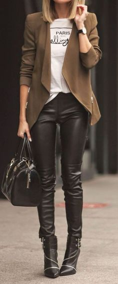 Stylish Look Brown Blazer Plus Top Plus Bag Plus Leather Skinnies Plus Boots