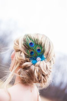 Messy, lose side chignon bridal hair inspiration. From a modern peacock inspired wedding Styled shoot. Images by Blissful Muse Photography.