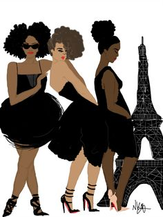 Black girls in Paris…I Heart Paris. #brown and black people in Paris #Eiffel tower
