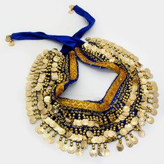 Hip Skirt Scarf Belly Dance Coin Charms #Costume Blue Velvet Gold Sequins #fashion @modtoast