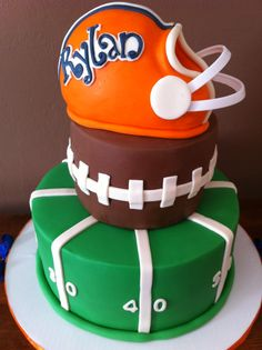 Football Birthday Cake. cute but the helmet could use some work.