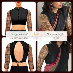 Design to reality- A kalamkari - chinese collar combo blouse is perfect for a… Indian Dress Up, Indian Blouse, Indian Attire, Indian Outfits, Saree Blouse Patterns, Saree Blouse Designs, Blouse Styles, Designer Blouses Online, Saree Jackets