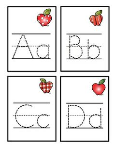 FREE apple alphabet tracing cards.