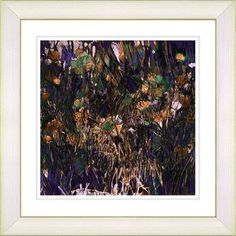 "Studio Works Modern Flocking Flamingos 'Flower Meadow' by Zhee Singer Framed Painting Print Frame Color: Creamy White, Size: 22"" H x 22"" W x 1"" D"
