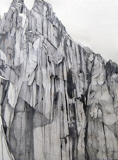 rocks. Line, tone, texture, light, shadow, perspective.