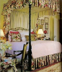 Beautifully coordinated bedroom. I often use washable matlasee coverlets with nonwashable fabric for the draperies & dust ruffle as shown here. Very practical with pets & children & you still have a great custom look. I probably would have used more of an ecru here, but the room is so comfortable & attractive anyway.