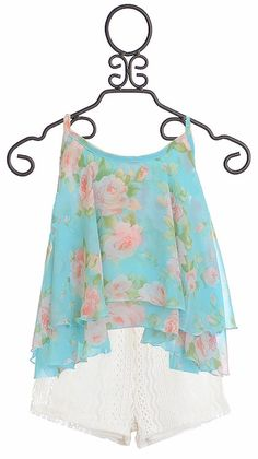 Tru Luv Floral Cami with Lace Shorts for Tweens (7,8,10)
