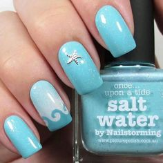 Waves and starfish complement these nails. nail designs for summer nail designs for short nails 2019 self adhesive nail stickers nail art stickers how to apply full nail stickers Ocean Nail Art, Beach Nail Art, Beach Nail Designs, Nail Art Designs, Nails Design, Fish Nail Art, Salon Design, Wave Nails, Sea Nails