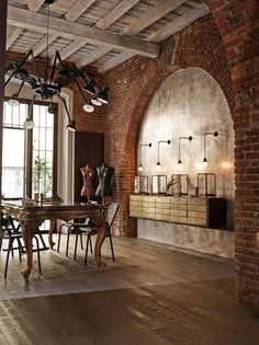 industrial dining Spaces . . . Home House Interior Decorating Design Dwell Furniture Decor Fashion Antique Vintage Modern Contemporary Art Loft Real Estate NYC Architecture Furniture Inspiration New York YYC YYCRE Calgary Eames StreetArt Building Branding Identity Style