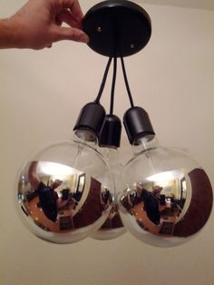 3 Silver Globed Pendant Lighting  Made to Order by MrMester, $60.00