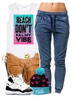 """""""Beach Don't Kill My Vibe"""" by oh-aurora ❤ liked on Polyvore featuring Juicy Couture, OnePiece, Concord and Giani Bernini"""