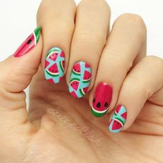 Elevate your manicure with new nail shapes. How do you know which nail shapes are best? From round to oval to squoval, here are the most flattering nail shapes. Types Of Nails Shapes, Different Nail Shapes, Watermelon Nail Art, Fruit Nail Art, Spring Nail Art, Summer Acrylic Nails, Cute Nail Art, Cute Nails, Nail Art Designs