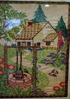 Vintage Embroidery Needlepoint Cottage Well | eBay