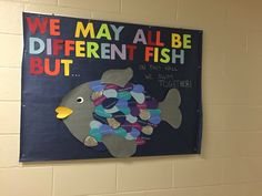 Rainbow fish inclusivity bulletin board with StrengthsQuest strengths on the scales!