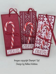 Candy cane gift tags made with Quilted Christmas DSP. How sweet!