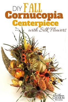 In this video, learn to make a fall cornucopia centerpiece for your fall table. #homedecorideas