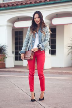 Tweed and Denim in Huntington Beach | Song of Style