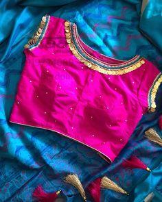 Saree Blouse Designs: Latest & Evergreen collections of 2019 Pattu Saree Blouse Designs, Blouse Designs Silk, Bridal Blouse Designs, Blouse Patterns, Dress Designs, Simple Blouse Designs, Stylish Blouse Design, Sari Bluse, Blouse Models