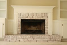 This is going to be my project tomorrow. I am so tired of the red brick. Orangy Fireplace Makeover - using watered down paint & a chip brush. Quick & inexpensive project that makes a huge difference when updating a room. White Wash Brick Fireplace, Fireplace Update, Brick Fireplace Makeover, Fireplace Remodel, Fireplace Mantle, Fireplace Surrounds, Fireplace Design, Fireplace Ideas, Mantel Ideas