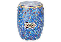 Floral Embroidery Garden Stool, Blue on OneKingsLane.com