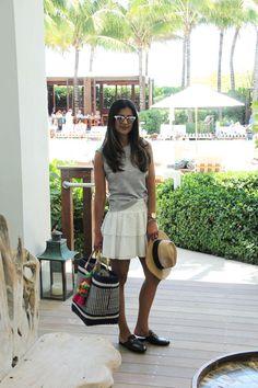 Beach getaway style - Westward Leaning sunglasses, Rebecca Minkoff Skirt, mar Y sol bag, Gucci slides