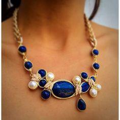Handmade✋ #pgaccesorios #chapadeoro #collar #necklace #handmadejewelry #perlas #lapislasuli