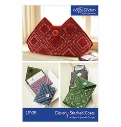 Cleverly Stitched Cases is a Jerilynn Lijewski Design from Indygo Junction and uses wool felt and decorative stitches to create an embroidered clutch, card pouch, or accessory/phone pouch. Fabric Crafts, Sewing Crafts, Sewing Projects, Sewing Tutorials, Crochet Projects, Diy Projects, Crochet Phone Cases, Crochet Mobile, Sewing For Beginners