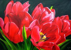 Red Tulips, Oil Painting. By Doris Joa