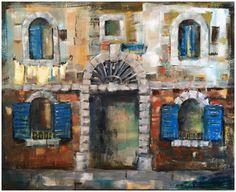 """Composition with Blue Edge"", Size:65 x 80 cm"