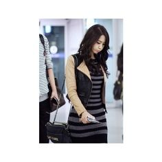 Girl's Generation (SNSD) / #SNSD #Yoona found on Polyvore   ( I love the striped mini-dress)