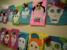 Artolazzi: Day of the Dead Skeleton paintings! Paper Plate Crafts For Kids, Kids Crafts, Hispanic Art, 3rd Grade Art, Second Grade, Day Of The Dead Art, Autumn Art, Mexican Art, Painted Paper