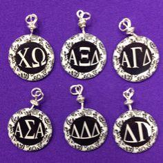 Sorority Greek Letter Charms - Alpha Sigma Alpha, Alpha Sigma Tau, Alpha Xi Delta, Chi Omega , Delta Gamma, Delta Delta Delta - pinned by pin4etsy.com