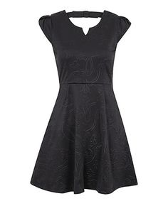 Another great find on #zulily! Black Embossed Bow Cap-Sleeve Dress by Louche #zulilyfinds