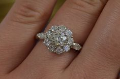 Art Deco-Inspired Flower-Shaped Engagement Ring by JDOTCJewelry